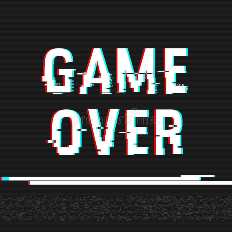 Game Over glitch text. Anaglyph 3D effect. Technological retro background. Vector illustration. Creative web template. Flyer, post stock illustration