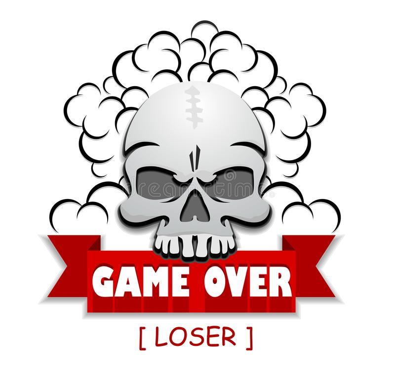 Skull game over icon. Game over - icon of the end game of the losing player. Illustration, vector vector illustration