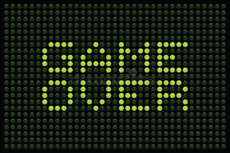 Game Over LED Matrix. Arcade Game Over message displayed in green LEDs on a black background royalty free illustration