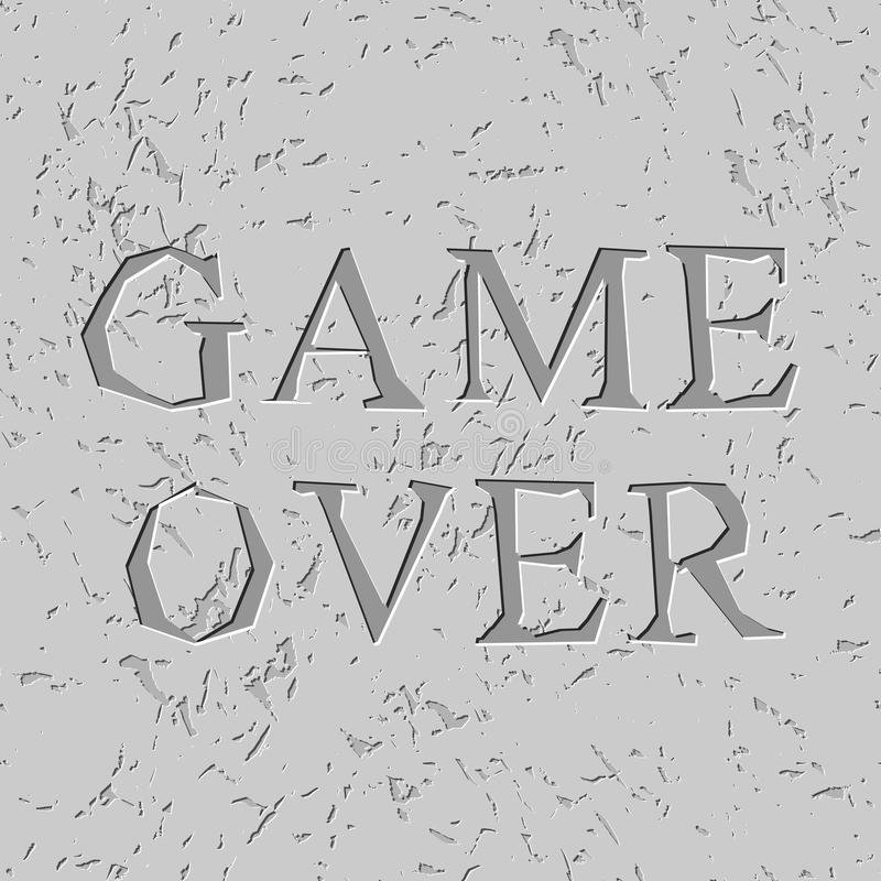 Game over letters carved on stone plate. Chips on rock vector illustration