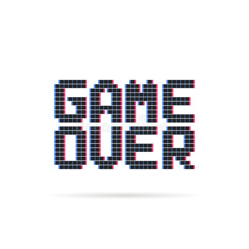Game over logo like glitch pixel art style royalty free illustration