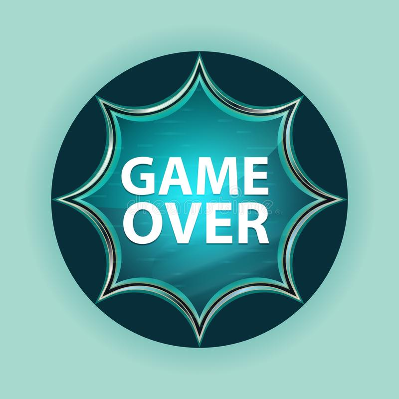 Game Over magical glassy sunburst blue button sky blue background. Game Over Isolated on magical glassy sunburst blue button sky blue background royalty free illustration