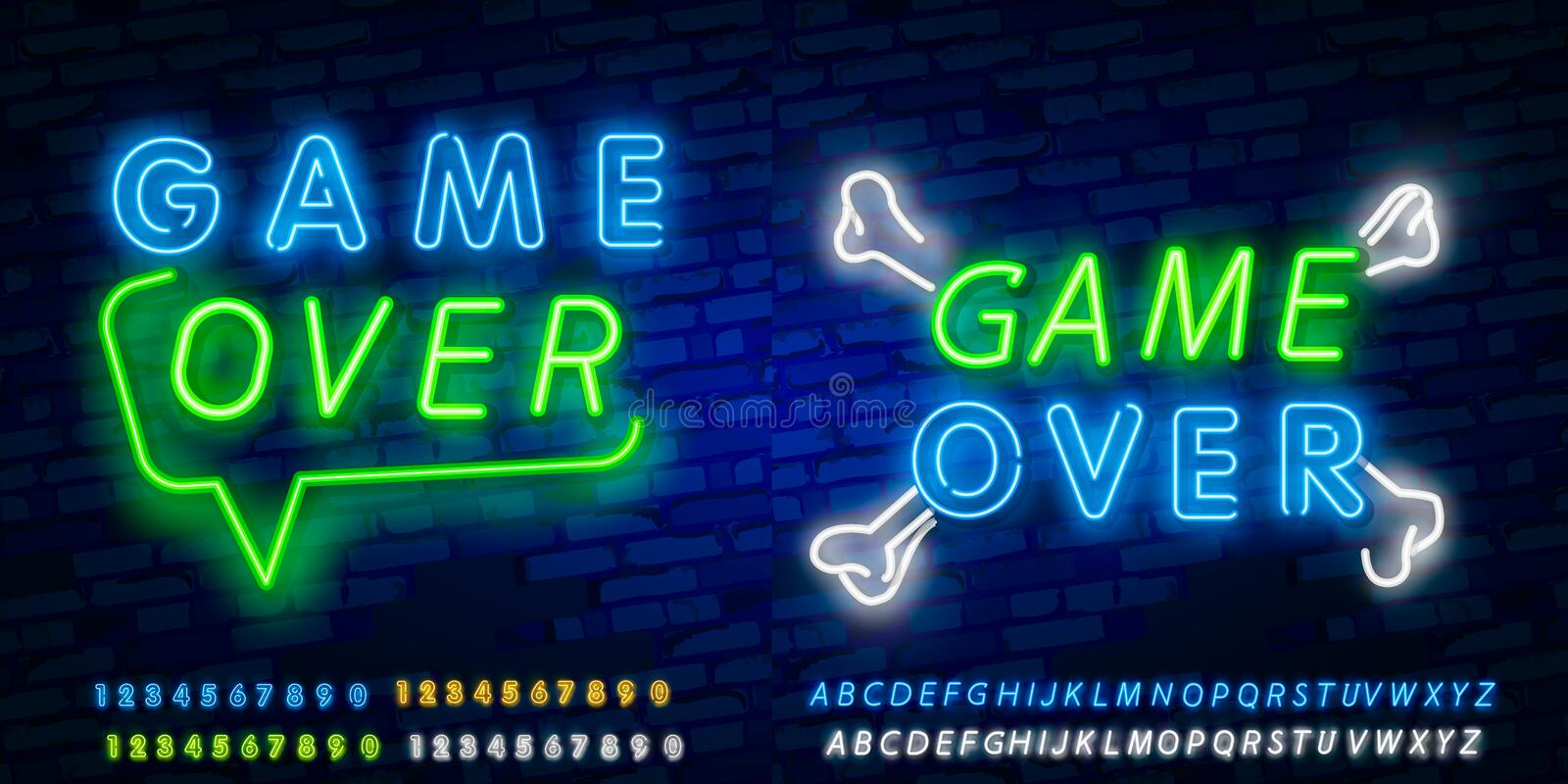 Game Over Neon Text Vector. Game Over neon sign, Gaming design template, modern trend design, night neon signboard, night bright. Advertising, light banner royalty free stock image