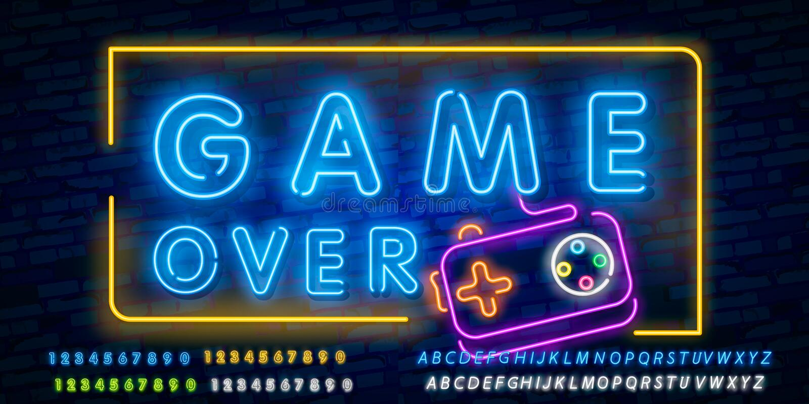 Game Over Neon Text Vector. Game Over neon sign, Gaming design template, modern trend design, night neon signboard, night bright. Advertising, light banner stock illustration
