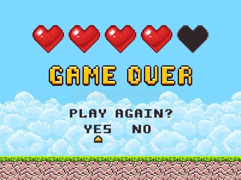 Game over pixel art arcade game screen vector illustration stock illustration