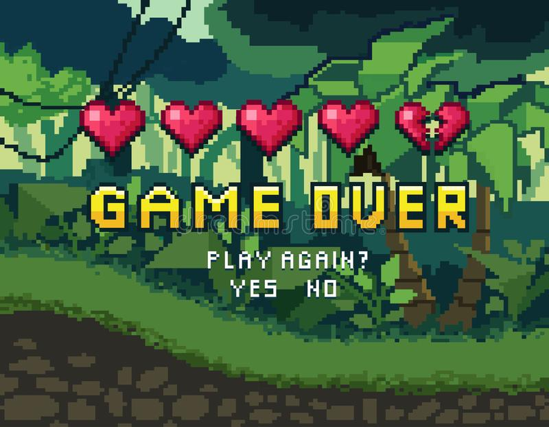 Game over pixel art design with tropical background and hearts. royalty free illustration