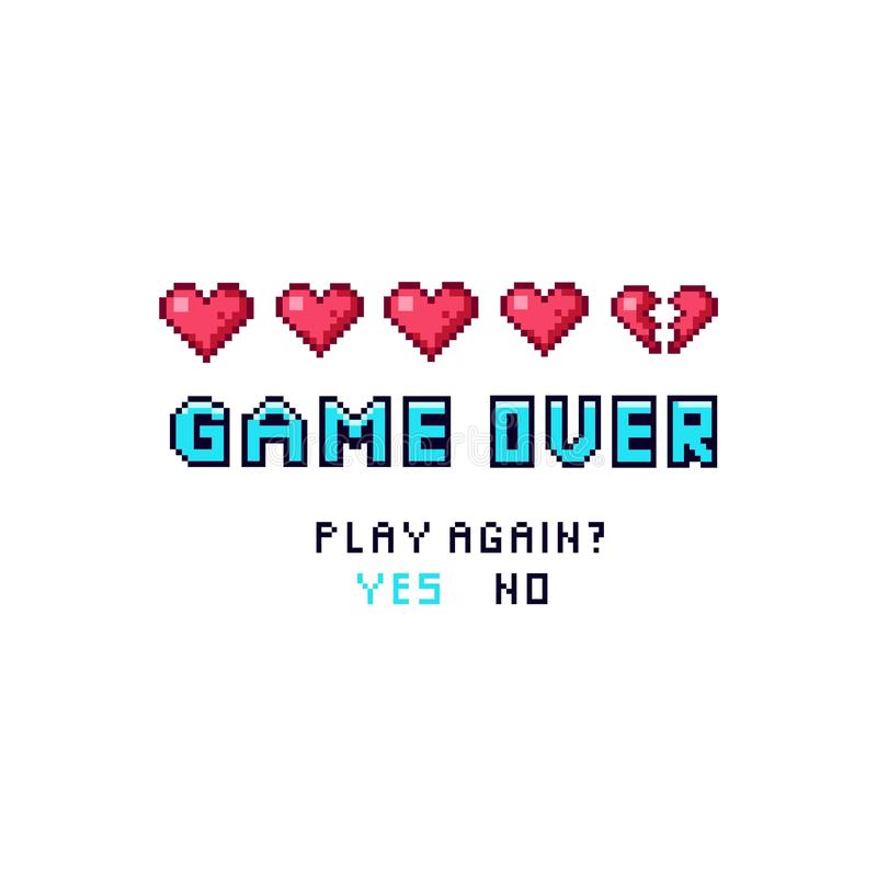 Game over pixelated death screen template stock illustration