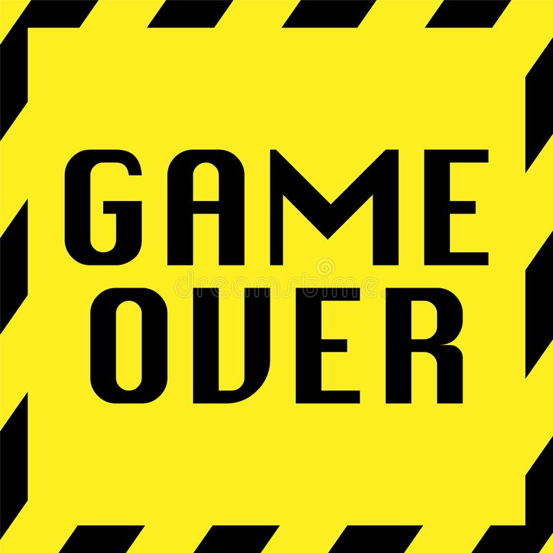 game over yellow sign with caution frame stock illustration