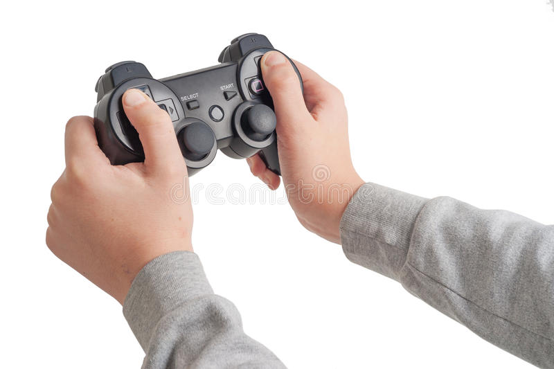 Game pad in the hands of scholar boy stock photography