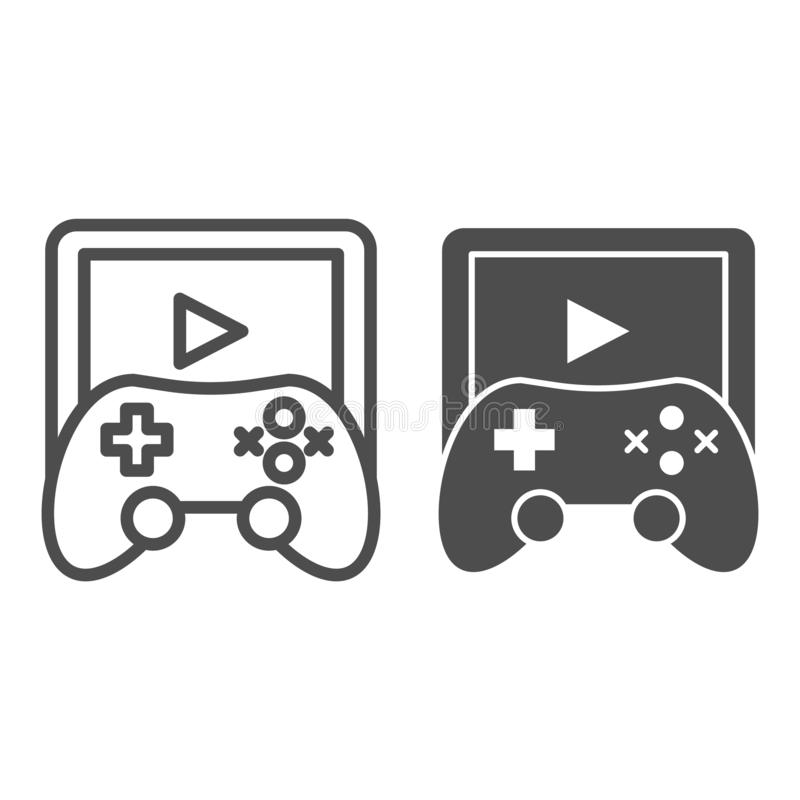 Game pad line and glyph icon. Game controller vector illustration isolated on white. Joystick outline style design vector illustration