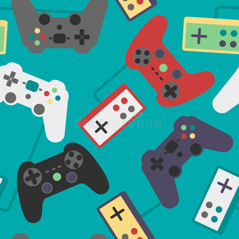 Game Pad Seamless Pattern. Seamless pattern video game controllers royalty free illustration