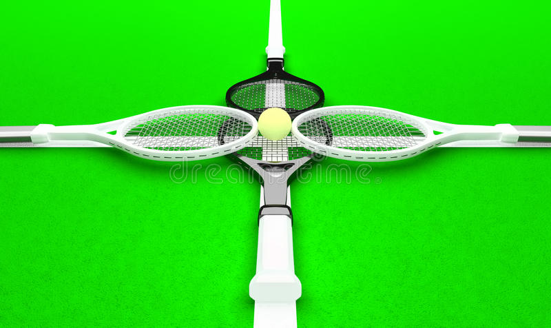 Game in the pair category. Four tennis rackets and tennis ball are located on the tennis court royalty free stock image
