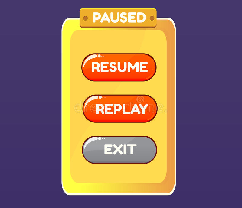 Game pause. Vector graphical user interface UI GUI for 2d video games. royalty free illustration