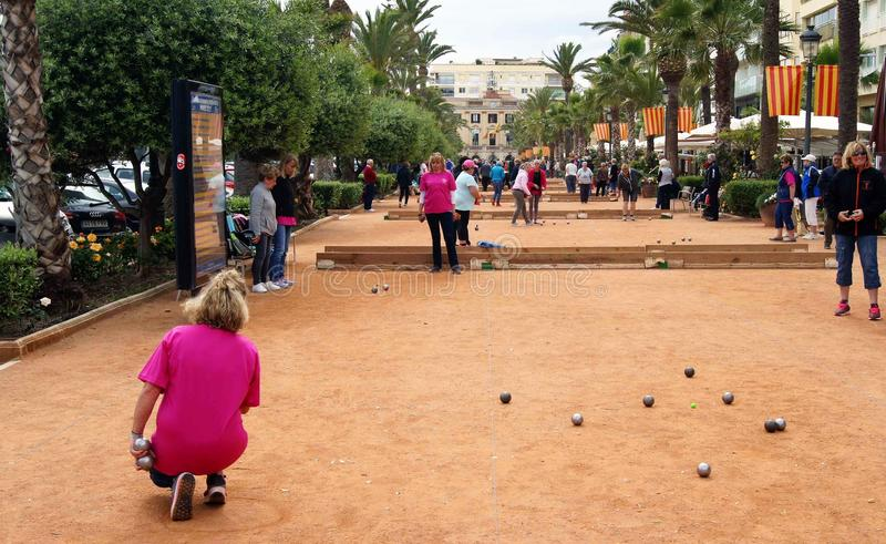 The game of Petanque stock images