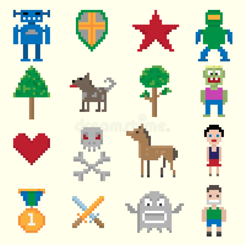 Game pixel characters royalty free illustration