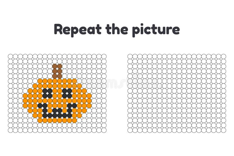 Game for preschool children. Repeat the picture. Paint the circles. Halloween. pumpkin. stock illustration