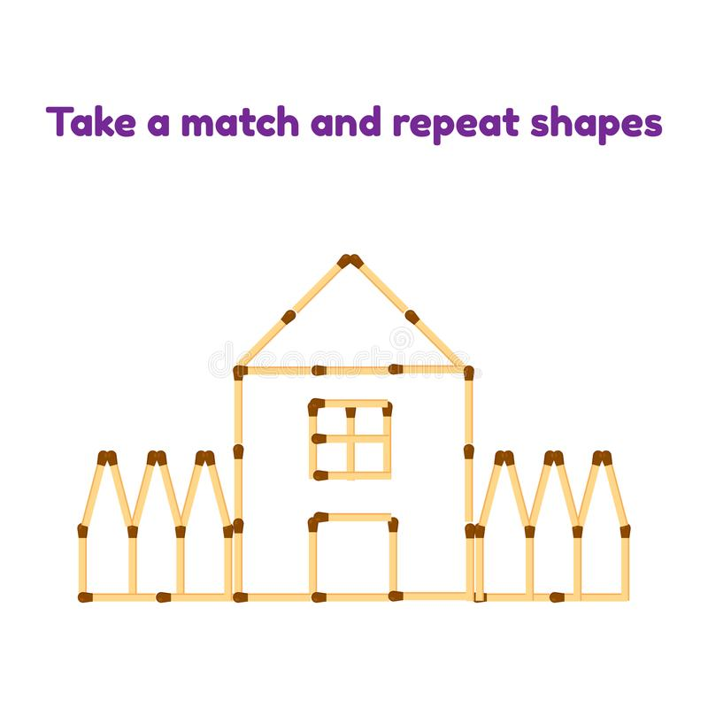 Game for preschool children. Take the matches and repeat the picture. house with window, roof and fence vector illustration