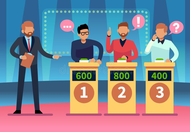 Game quiz show. Clever young people playing television quiz with showman, trivia game tv competition. Cartoon design royalty free illustration