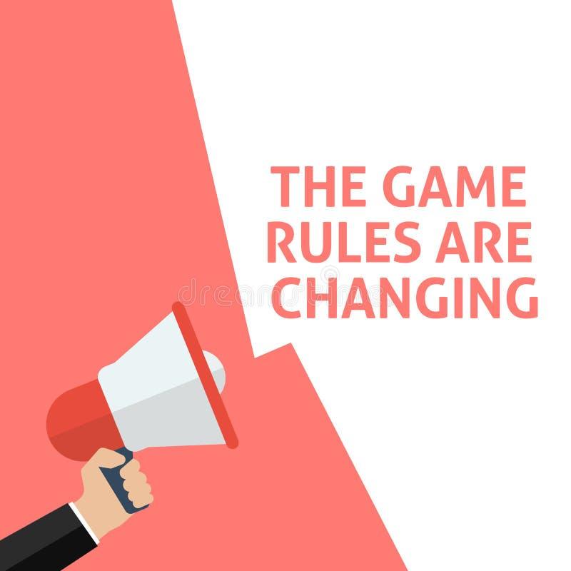 THE GAME-REGELN ÄNDERN Mitteilung Hand, die Megaphon mit Sprache-Blase hält lizenzfreie abbildung