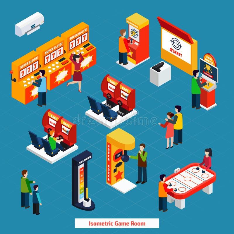 Game Room Isometric Poster stock illustration