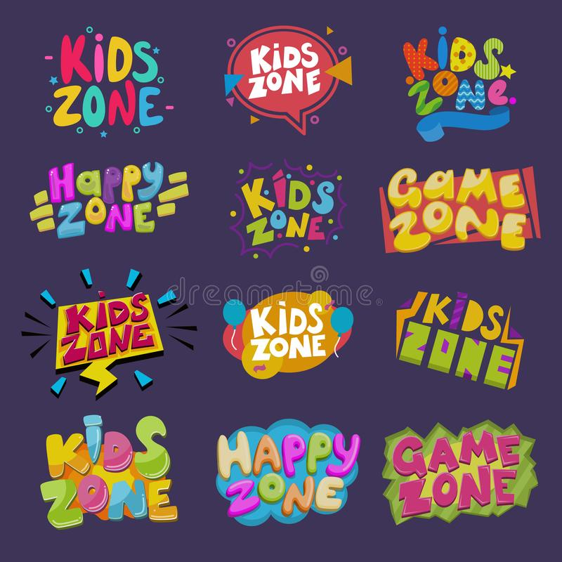 Game room vector kids playroom banner in cartoon style for children happy play zone decoration illustration set of royalty free illustration