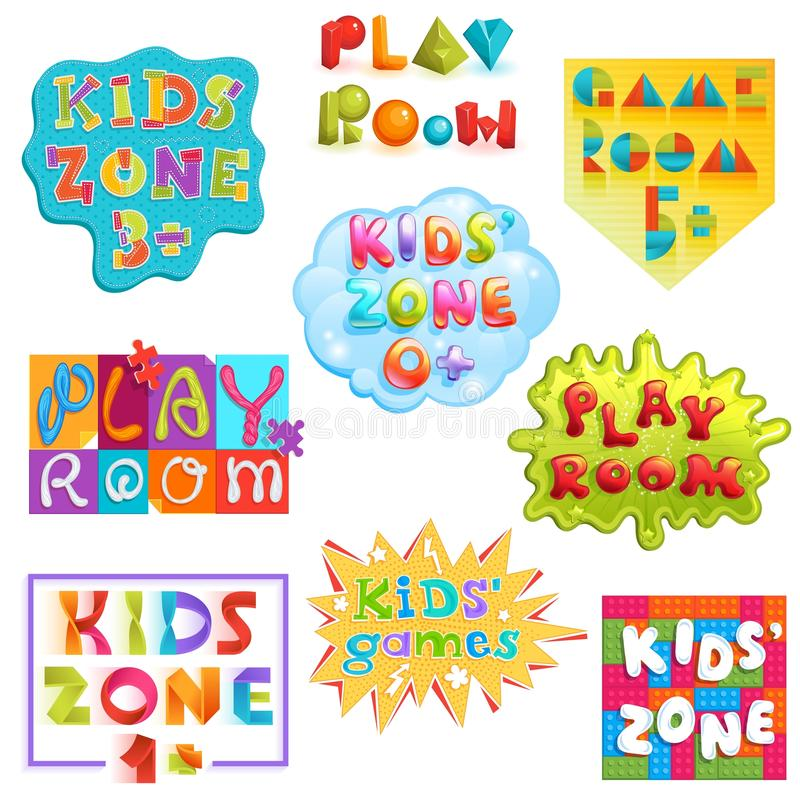 Game room vector kids playroom banner in cartoon style for children play zone decoration illustration set of childish stock illustration