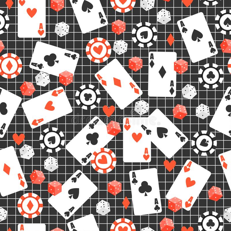 Game seamless pattern with cards, poker chips, dice on original dark background. royalty free illustration