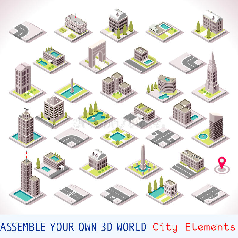 Free Game Set 01 Building Isometric Stock Photography - 58667212