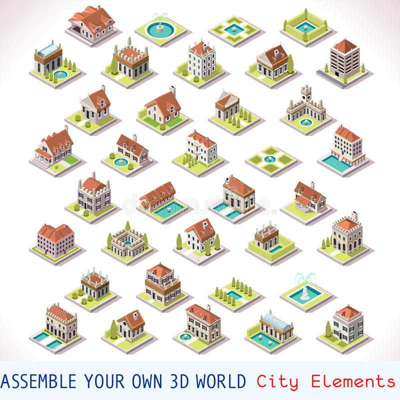 Free Game Set 03 Building Isometric Royalty Free Stock Images - 58667509