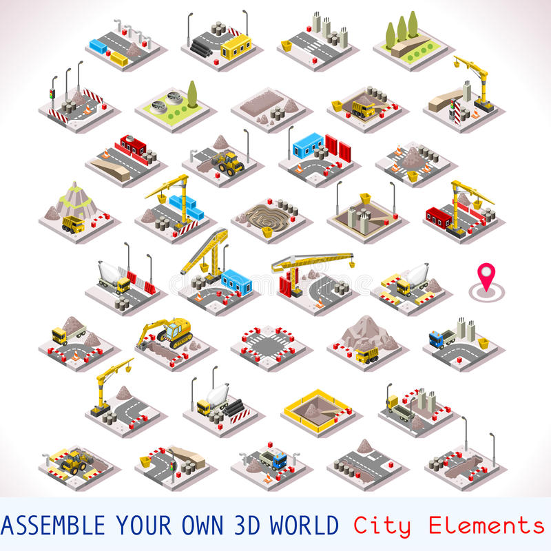 Construction Site Map: Game Set 02 Building Isometric Stock Vector