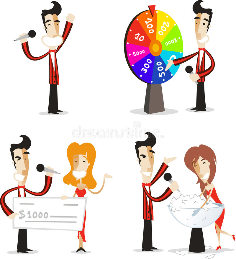 Game show host action set 2. Game show host illustrations, with host winner participant roulette spin the wheel. Vector illustration cartoon vector illustration