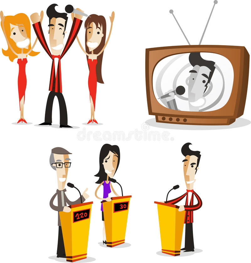 Game show tv host action set 1. Game show host illustrations collection 01 stock illustration