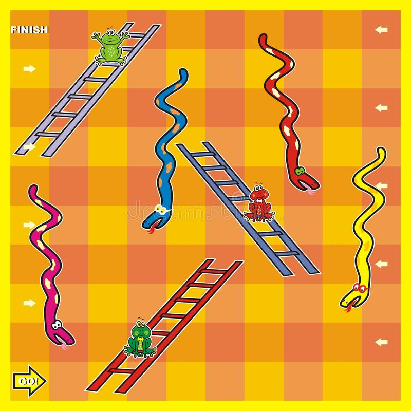 Game, snakes and frogs stock illustration