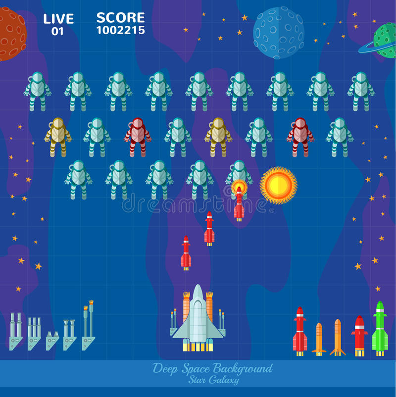 Game space background. Spaceship shoot vector illustration