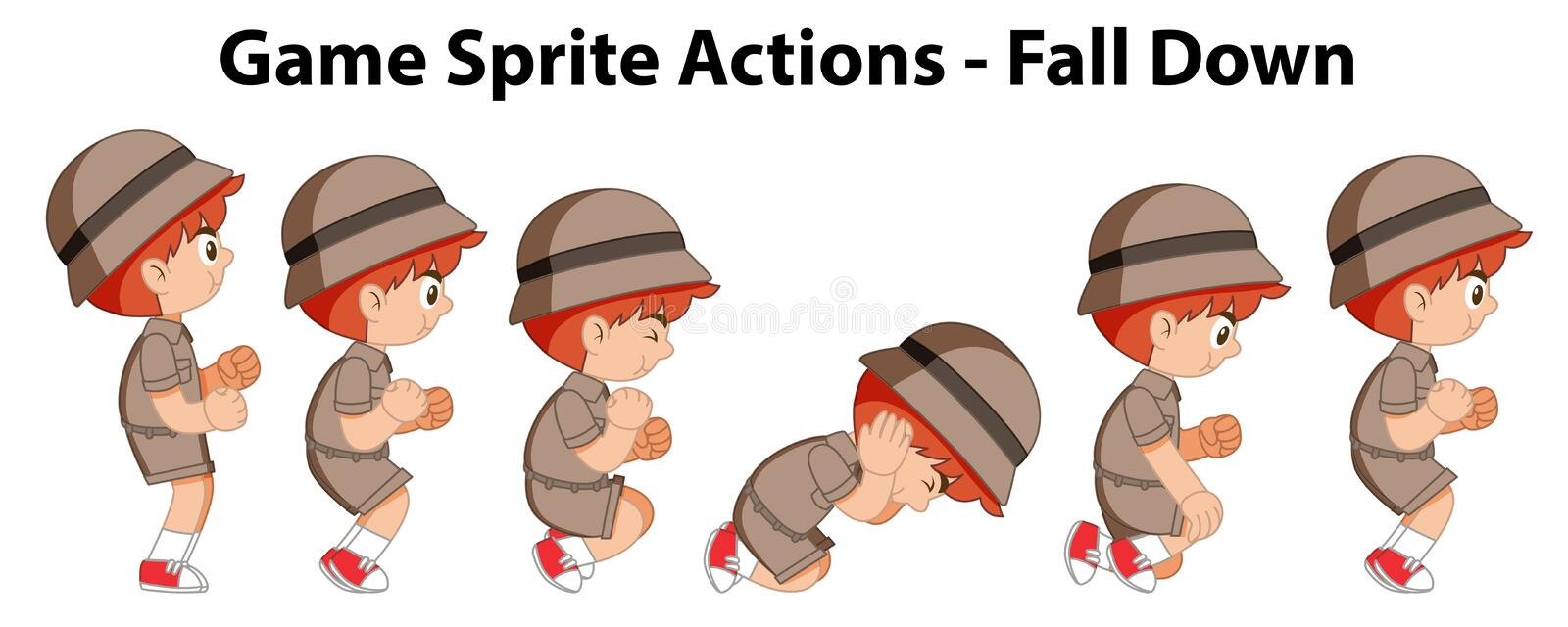 Game sprite actions - fall down vector illustration