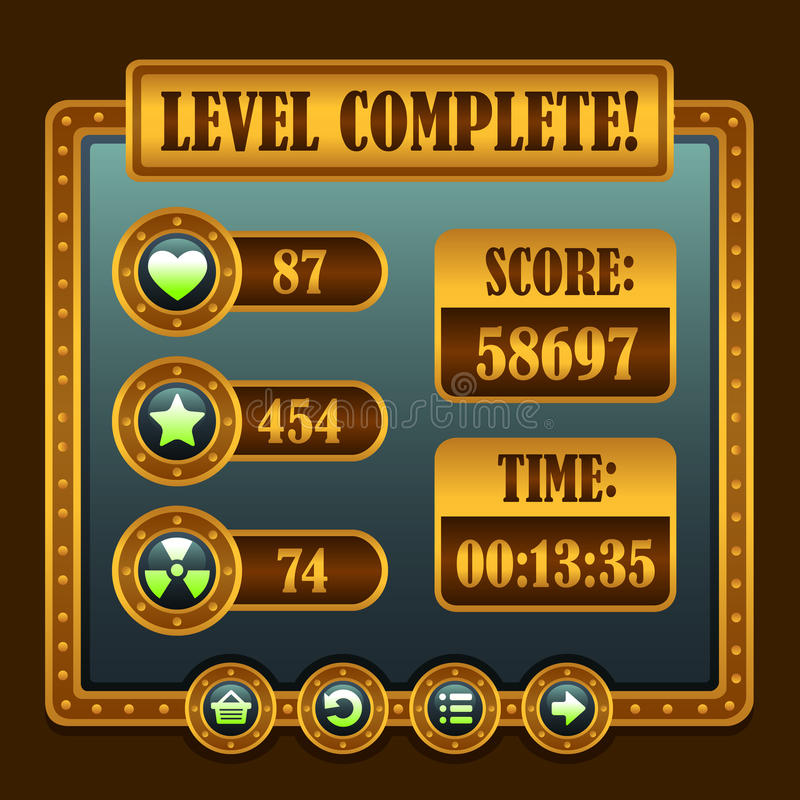 Game steampunk level complete icons. Buttons ui stock illustration