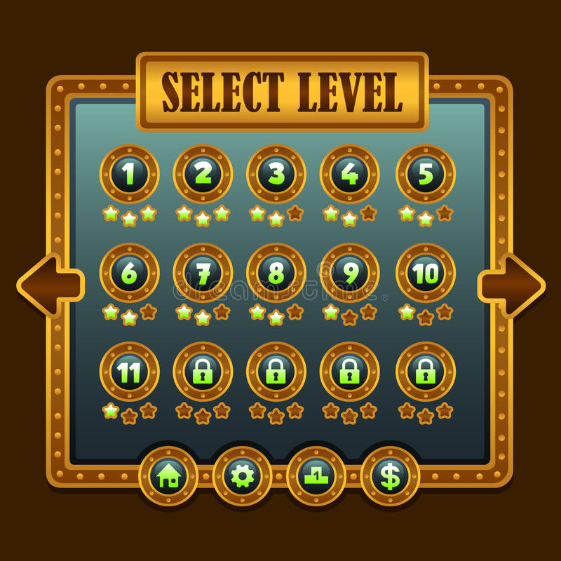 Game steampunk level selection icons. Ui buttons stock illustration