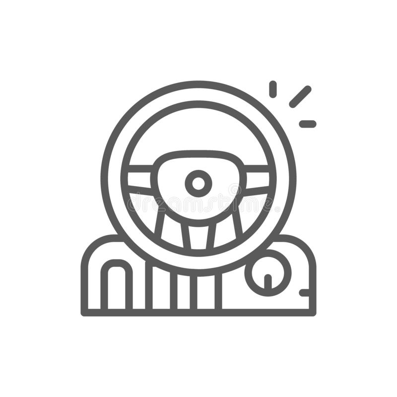 Game steering wheel with pedals and gearbox line icon. Vector game steering wheel with pedals and gearbox line icon. Symbol and sign illustration design royalty free illustration