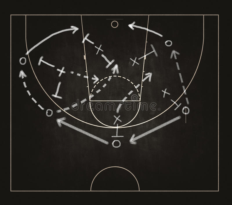 Game strategy drawn on blackboard royalty free stock photography