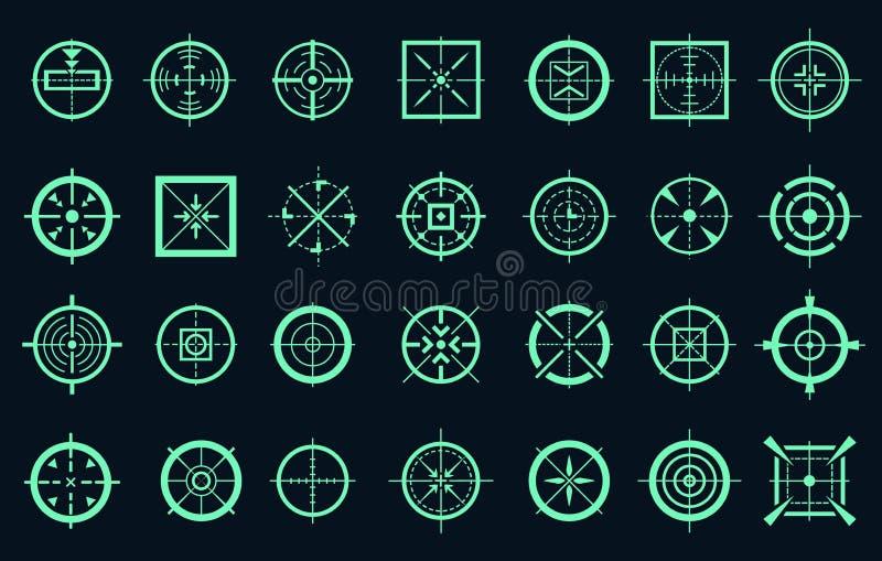 Game target cross icons. Sniper targeting mark pointers vector crosses, range shooting gun scope crosshairs royalty free illustration