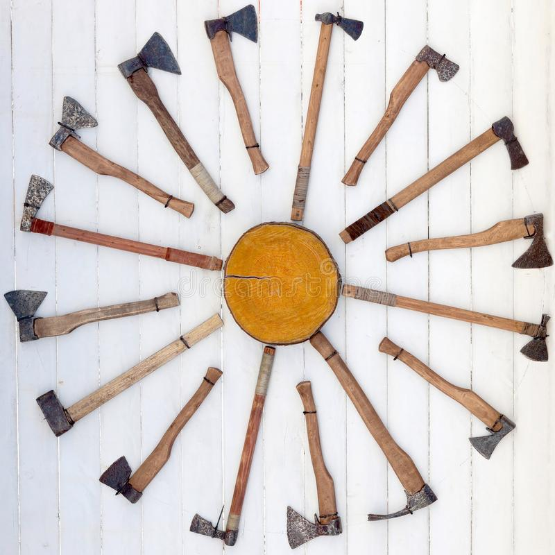 Game target for throwing axes. Game target for throwing axes stock image