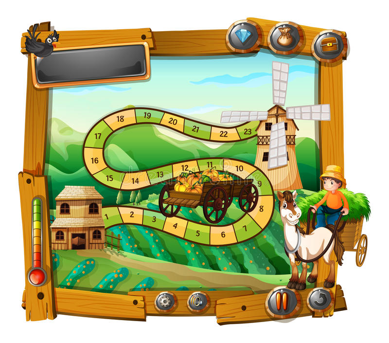 Game template with farmer on wagon. Illustration vector illustration