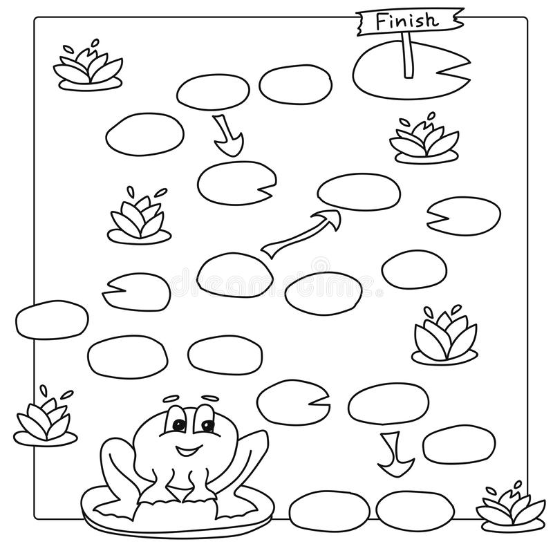 Download Game Template With Frog Vector Coloring Book Pages For Children Stock