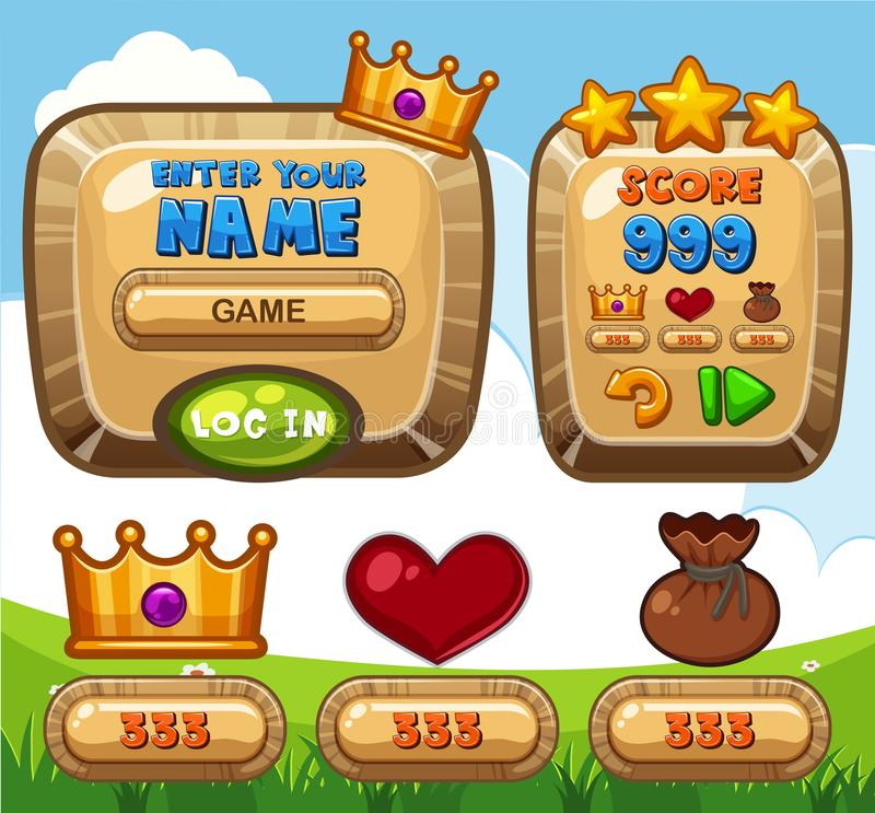 Game template with name and score bars. Illustration vector illustration