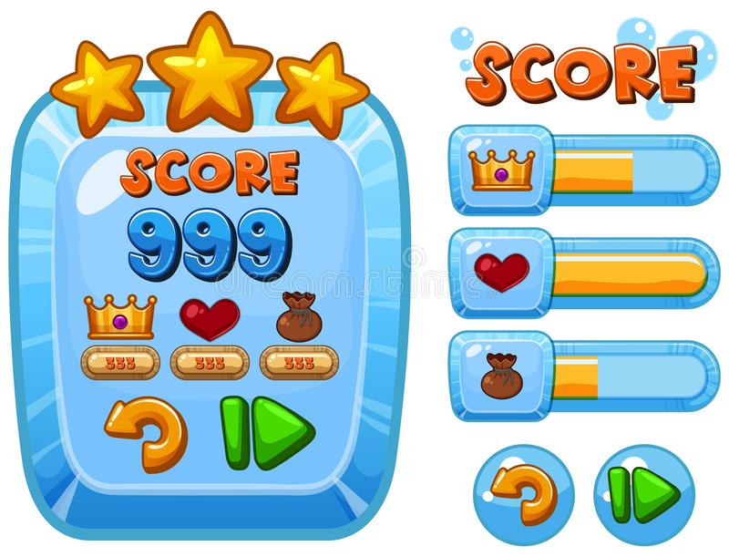 Game template with score bars. Illustration stock illustration