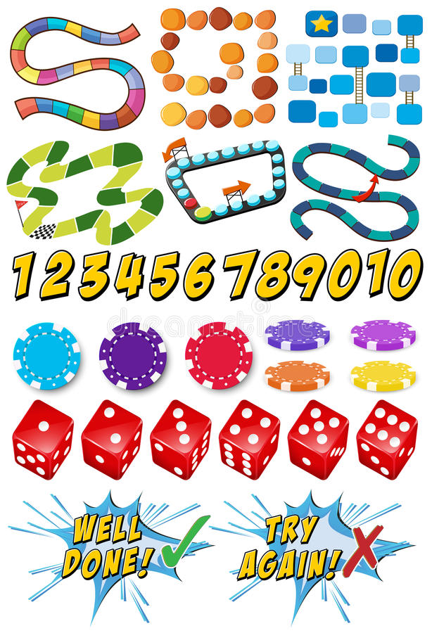 Game templates and casino items vector illustration