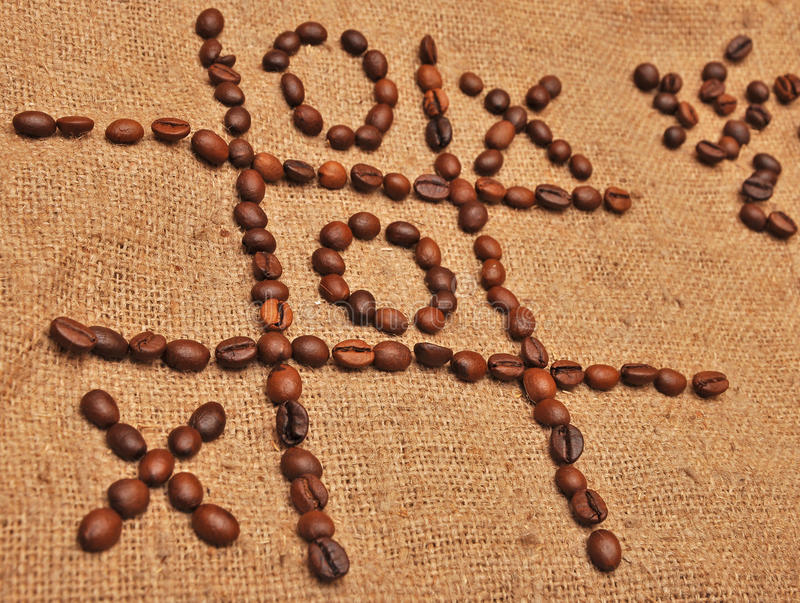 Game tic toe land coffee beans royalty free stock image