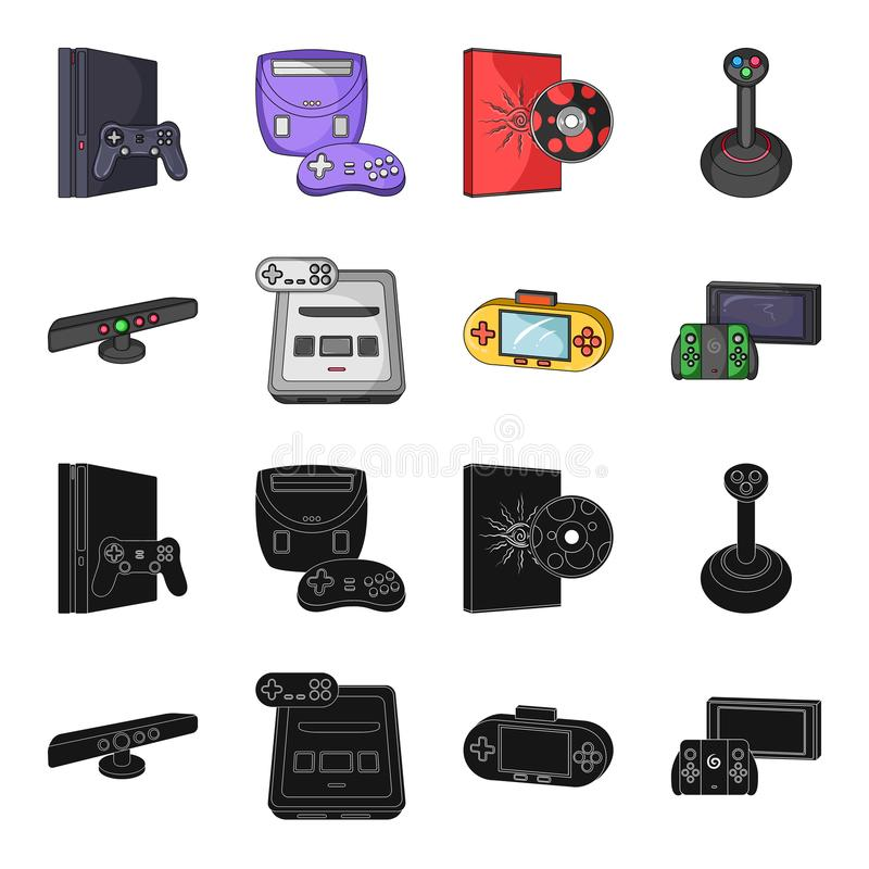 Game and TV set-top box black,cartoon icons in set collection for design.Game Gadgets vector symbol stock web. Game and TV set-top box black,cartoon icons in set royalty free illustration