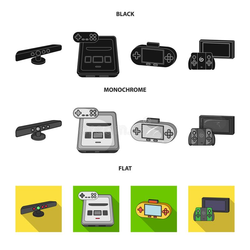Game and TV set-top box black, flat, monochrome icons in set collection for design.Game Gadgets vector symbol stock web. Game and TV set-top box black, flat stock illustration