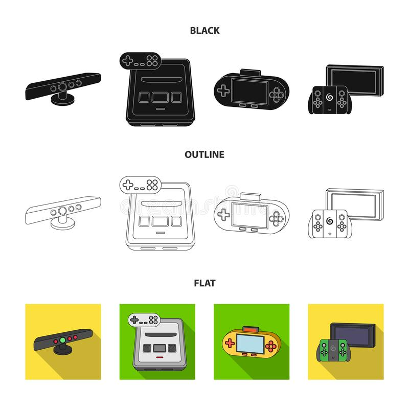 Game and TV set-top box black,flat,outline icons in set collection for design.Game Gadgets vector symbol stock web. Game and TV set-top box black,flat,outline vector illustration